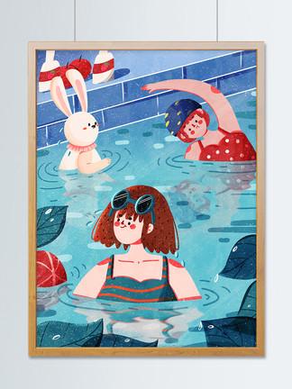 夏日夏天7月你好游泳游泳池度假治愈夏至