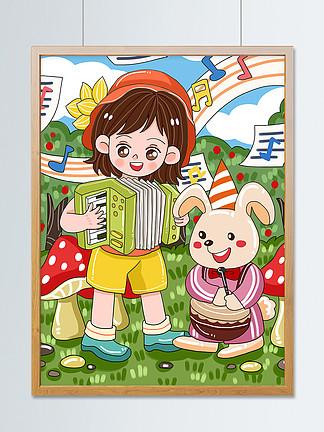 原創可愛卡通森林動物音樂節音樂會兒童插畫