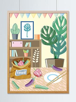 原创排线清漫趋势家居厨房日常生活插画