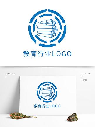 原創簡約教育行業藍色書本logo