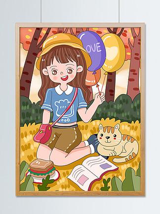 原创可爱卡通森林里的小女孩小清新儿童插画