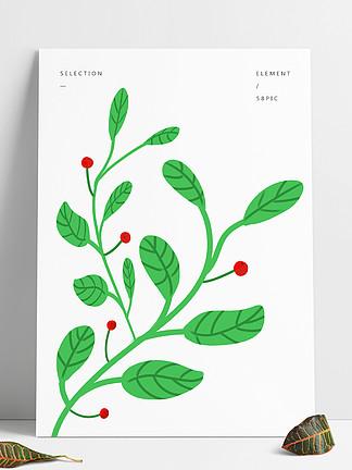小清新绿色叶子卡通简约背景元素素材