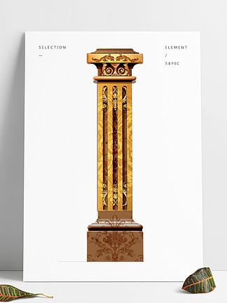咖啡金歐式花紋立體柱子裝飾圖案免扣元素