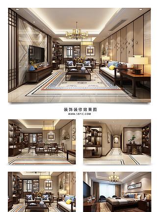 3D室內<i>效</i><i>果</i><i>圖</i><i>中</i><i>式</i><i>家</i><i>裝</i>