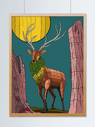 鹿原始色階立體色塊風格