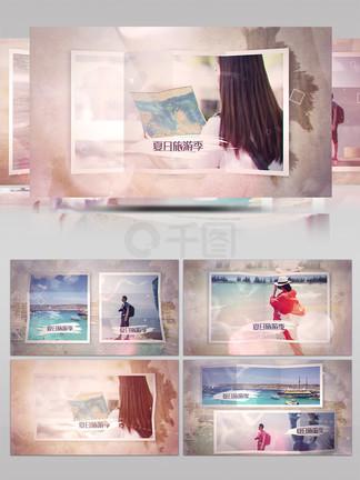 唯美朦胧褶皱照片景点旅游景观AE模板