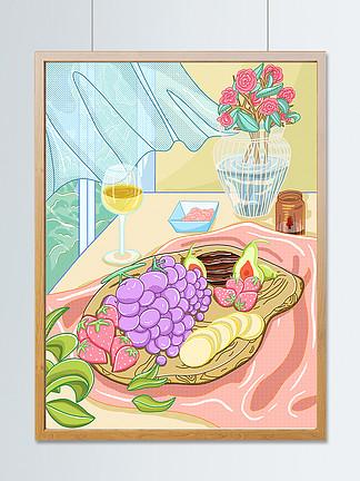 線排清漫小清新水果美食餐桌食物插畫