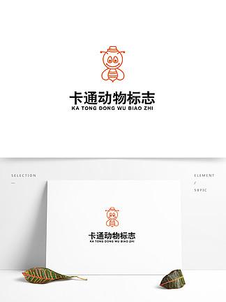 卡通動物幼兒早教logo
