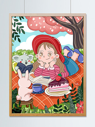 原创可爱卡通春天森林春游野餐儿童插画