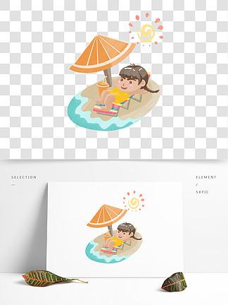 線排清漫夏日沙灘躺著的女孩