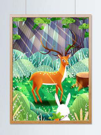 清新治愈系森林与鹿插画
