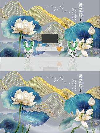 新中式线描水墨荷花抽象艺术轻奢<i>电</i><i>视</i><i>背</i><i>景</i><i>墙</i>