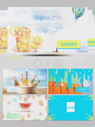 夏日产品宣传清凉水彩图形转场图文视频