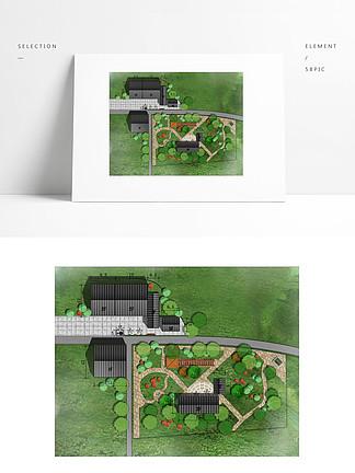 院落公园小游园庭院彩色平面图PSD