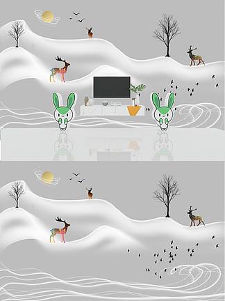 新中式手绘抽象线条水墨山水麋鹿背景墙