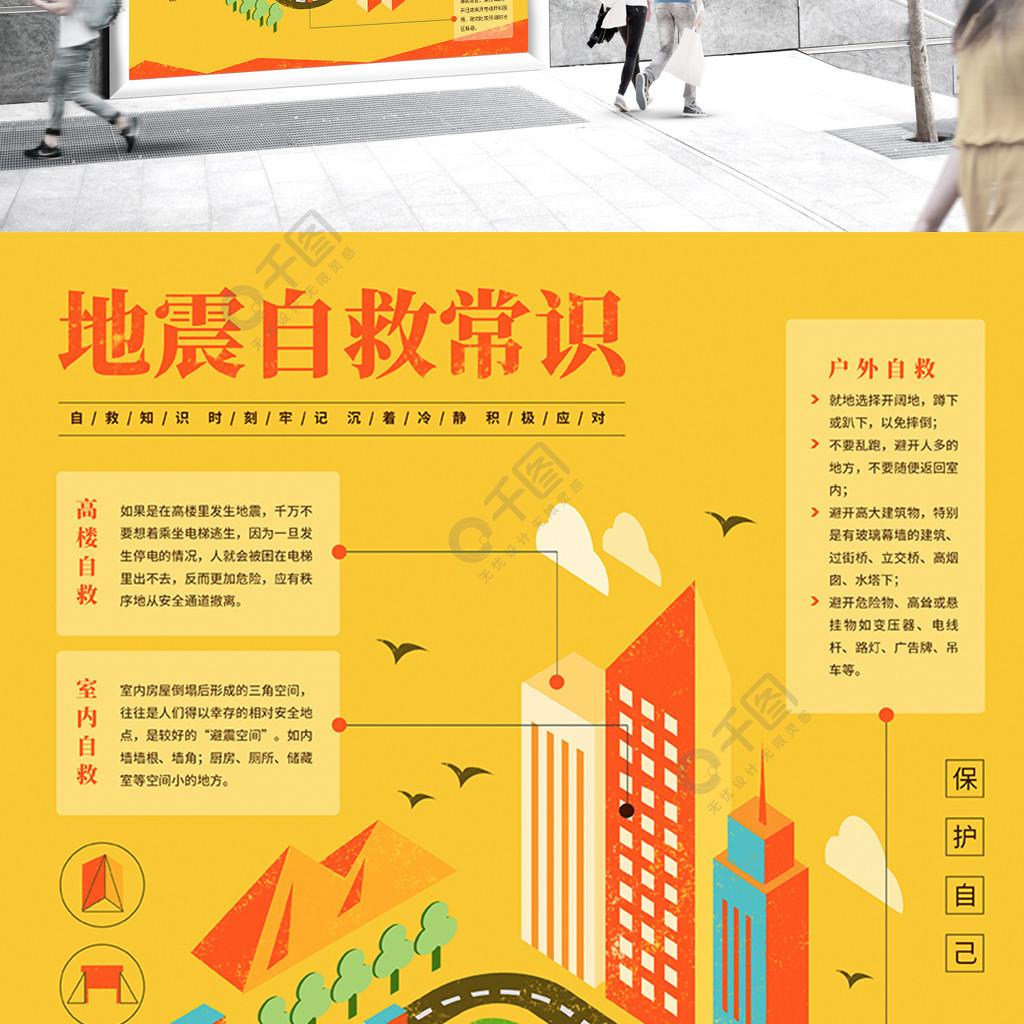 地震自救知識緊急避險手繪插畫海報原創
