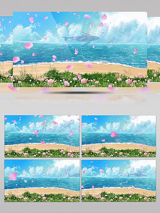 唯美海邊沙灘花瓣飄舞粒子動態背景視頻