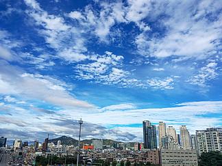 蓝天天空韩国街道风景城市景色旅游旅行摄影