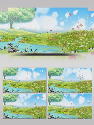 唯美蓝天花朵背景视频