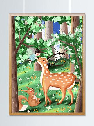 手绘治愈系小清新森林与鹿插画设计