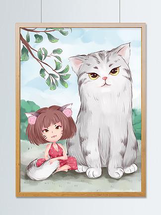 卡通漫画猫咪手绘小清新海报