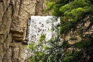 瀑布溪流叢林攝影圖