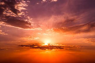 天空攝影火燒云白云藍天圖