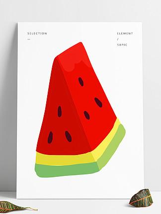 小清新元素卡通素材简约水果西瓜免扣背景