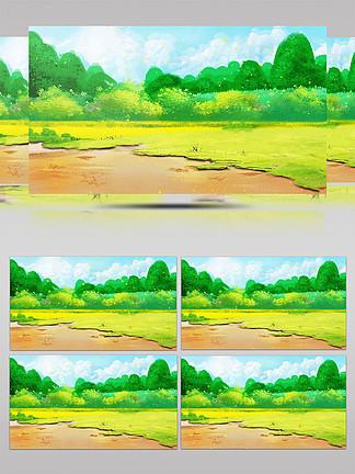 手繪綠色風景插畫動態背景視頻AE模板