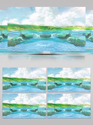 藍色清新海邊插畫動態背景是視頻