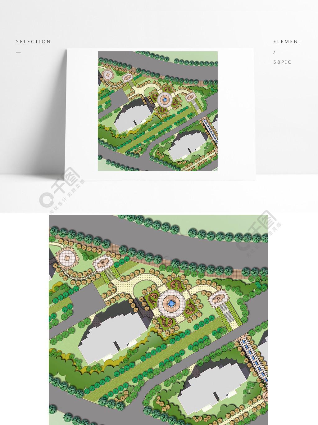 彩色小区园林景观PS平面图设计图免费的德国上海设计公司图片