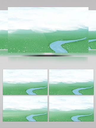 非實小河拍藍天白云草地背景AE模板