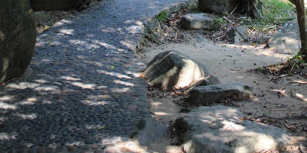 清幽石子路小徑道路