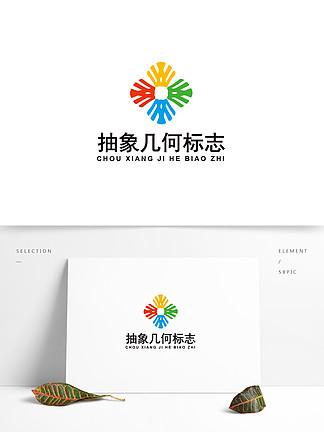 彩色抽象几何图案logo