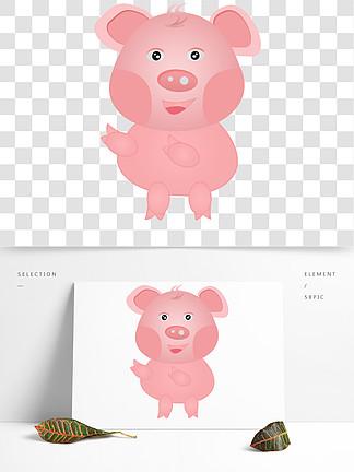 卡通粉红色的猪素材