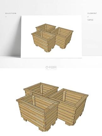 防腐木花箱su模型
