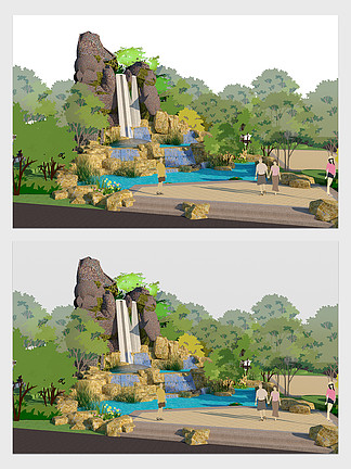 園林景觀小地形瀑布