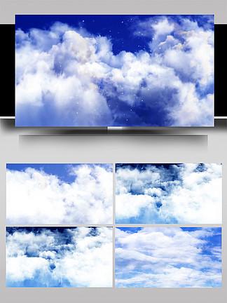 藍天白云穿梭云層展示AE模板