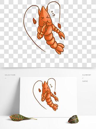 手繪麻辣小龍蝦擬人卡通可愛可商用
