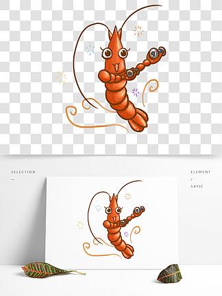 手繪舉重的小龍蝦擬人卡通可愛可商用