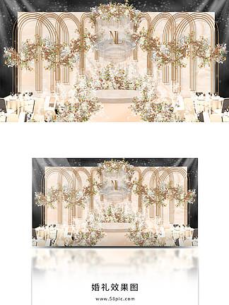 香檳色婚禮舞臺效果圖