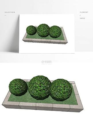 黃楊球草叢花壇su模型