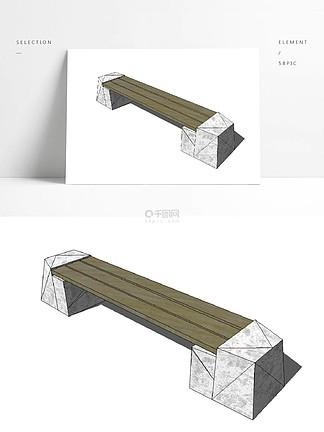 戶外石敦長條木景觀椅