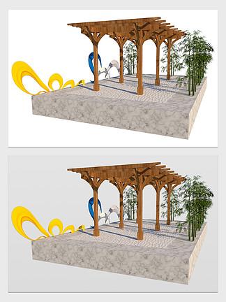 現代風休憩廊架設計