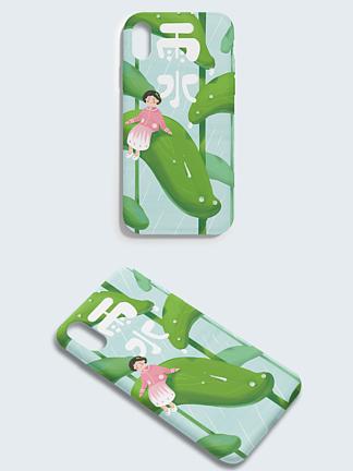 原创手绘二十四节气雨水叶子女孩手机壳插画