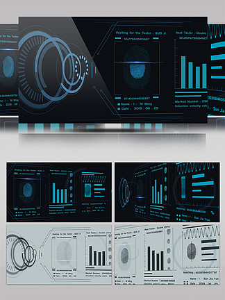 纯原创指纹扫描科技感3D旋转AE特效动画