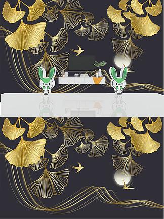 现代轻奢金色植物银杏叶子晶瓷<i>电</i><i>视</i><i>背</i><i>景</i><i>墙</i>