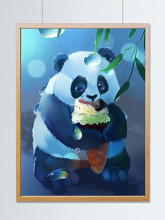 趋势梦觉原画夏天吃冰激凌的可爱大熊猫