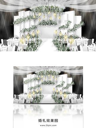 白綠色婚禮舞臺效果圖