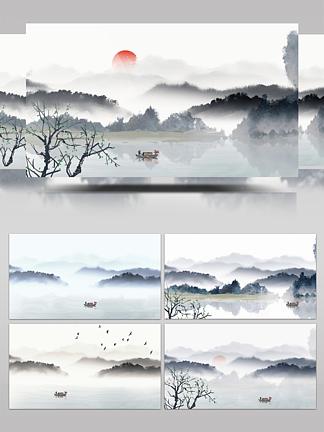水墨山峰红日渔船中国风群山树从<i><i>会</i></i><i>声</i><i><i>会</i></i><i>影</i>